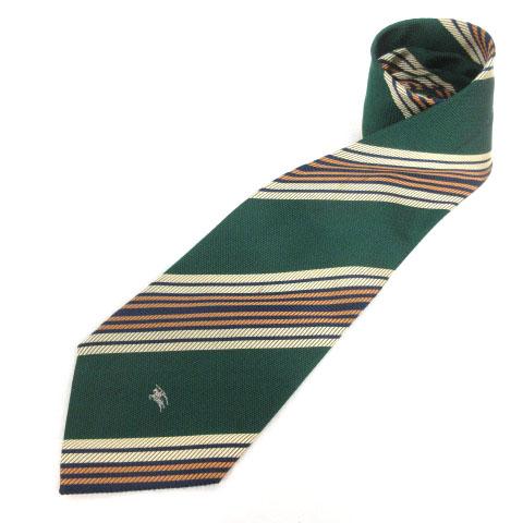 【中古】バーバリーズ Burberrys ネクタイ ストライプ ホース刺繍 シルク グリーン イエロー メンズ