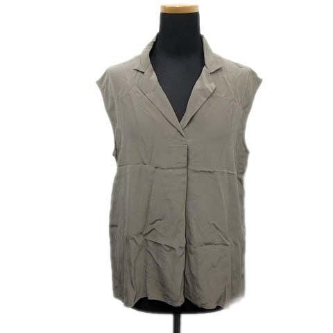 【中古】美品 トゥモローランド TOMORROWLAND シルク100% ノースリーブ オープンカラー シャツ ブラウス
