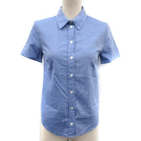 【中古】マヌーシュ MANOUSH シャツ ブラウス 半袖 34 青 ブルー /EK ■BR レディース
