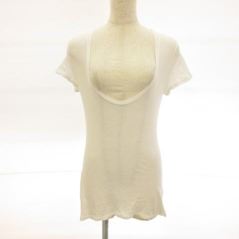【中古】ジェームスパース JAMES PERSE カットソー Tシャツ 半袖 Uネック 白 0 *E112 レディース