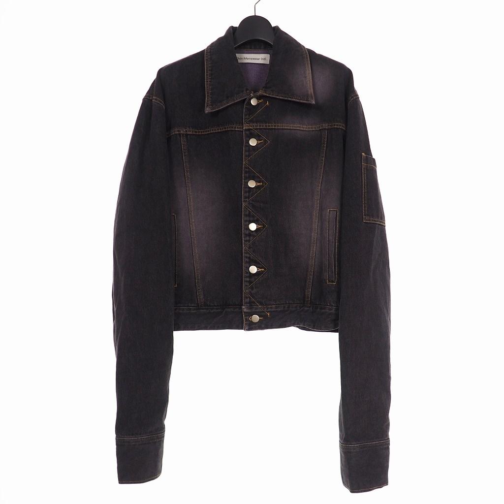 【中古】チンメンズウェア CHIN MENSWEAR INTL スリーブポケット デニムジャケット Gジャン M ブラック 黒 メンズ