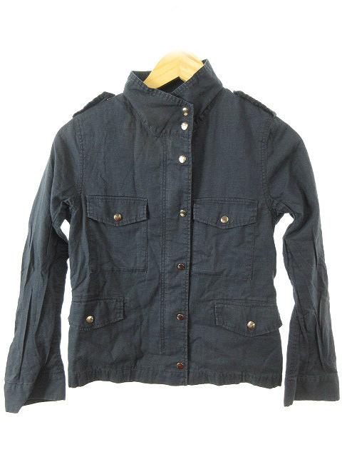 【中古】スピック&スパン ノーブル ジャケット ショート スタンドカラー エポレット リネン 麻 38 紺 ネイビー レディース